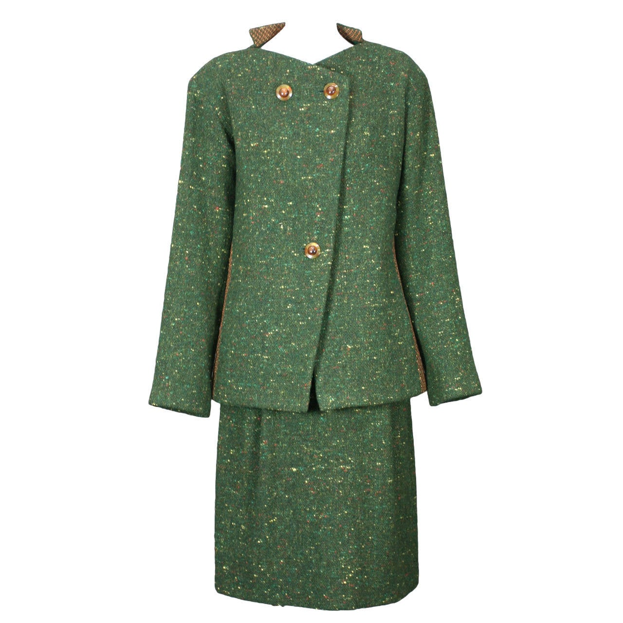 Geoffrey Beene Green Tweed Ensemble For Sale