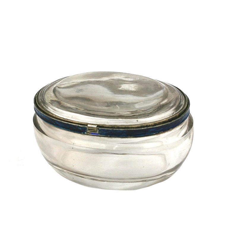 Edwardian Rock Crystal and Enamel Pill Box For Sale