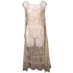 1920'S Filet and Embroidered Tulle Gown