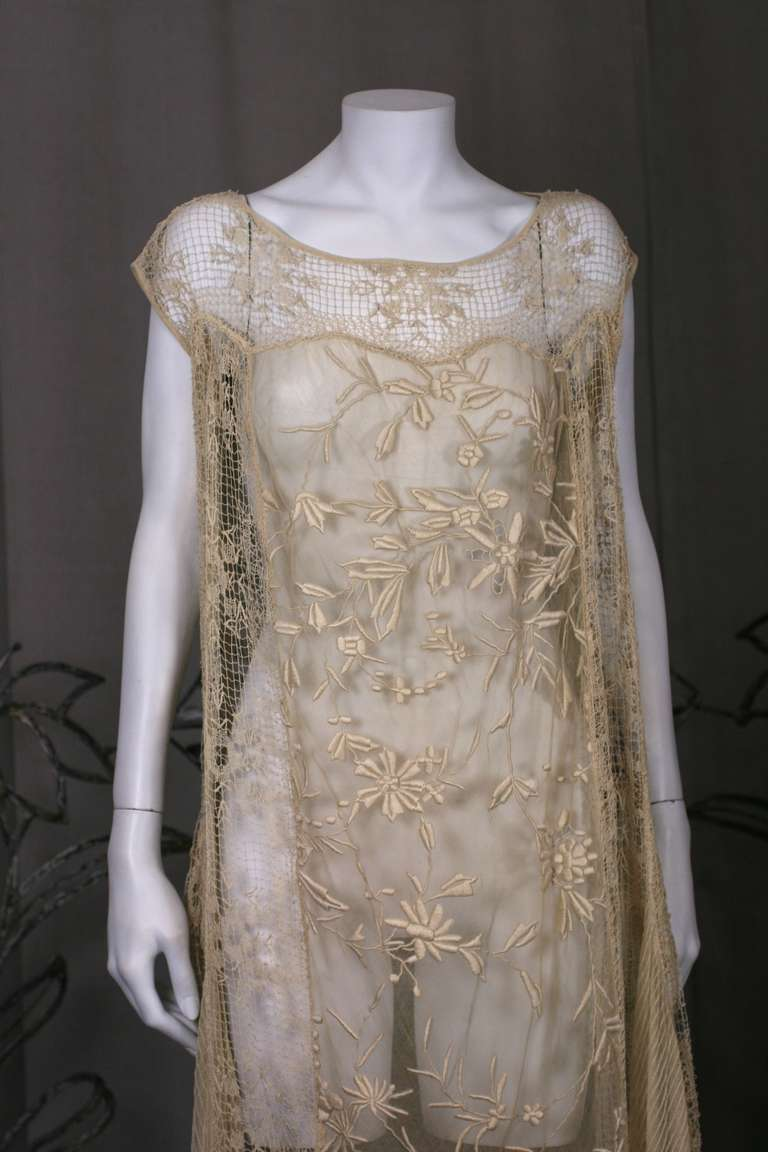 1920 S Filet And Embroidered Tulle Gown For Sale At 1stdibs