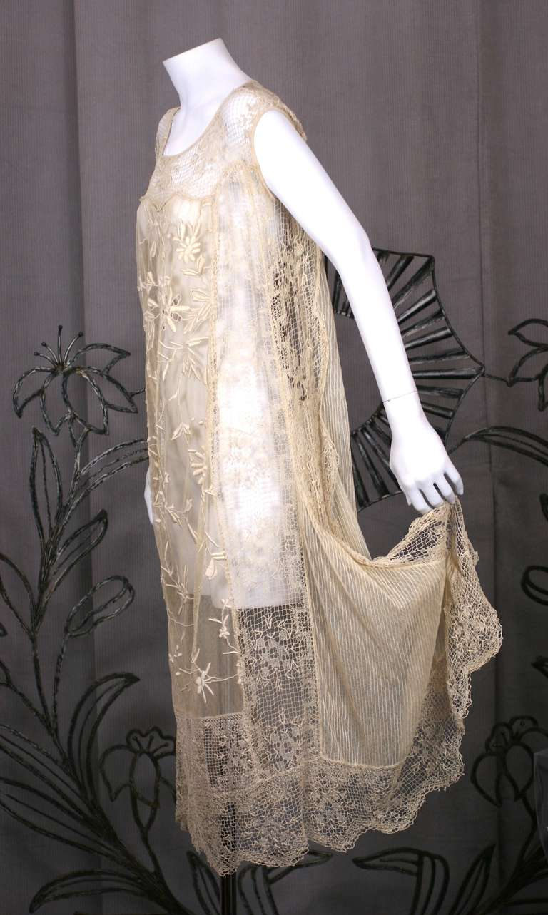 1920\'S Filet and Embroidered Tulle Gown For Sale at 1stdibs