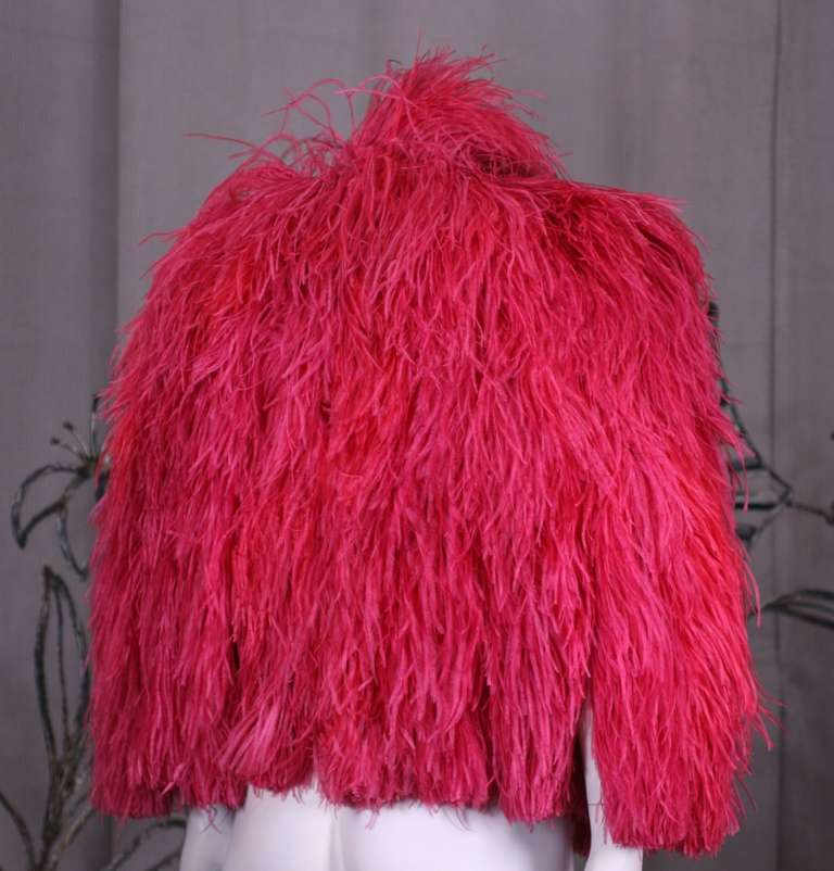 Vivid Red Art Deco Ostrich Cape In Excellent Condition For Sale In Riverdale, NY