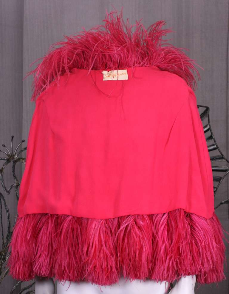 Women's Vivid Red Art Deco Ostrich Cape For Sale