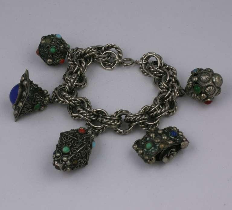 Italian Charm Bracelet Brands: Chunky Italian Charm Bracelet For Sale At 1stdibs