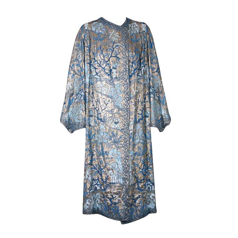 Chinoiserie Art Deco Lame Coat, Margaine Lacroix 1925