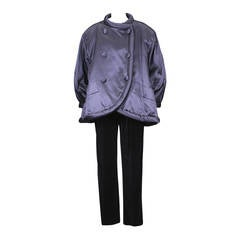 Yves Saint Laurent Padded Chinese Satin Coat Ensemble