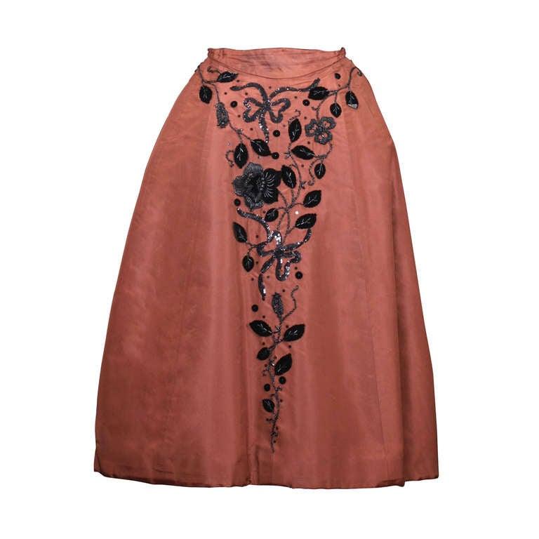 Charles James Tobacco Taffeta Cocktail Skirt