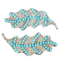 Marvella Pave and Turquoise Leaf Brooches