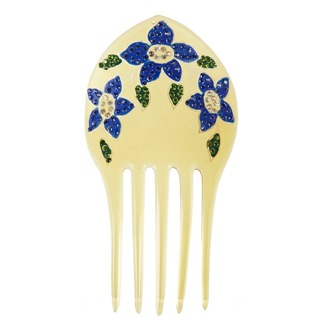Celluloid Comb with Pave Florals 1