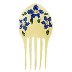 Celluloid Comb with Pave Florals