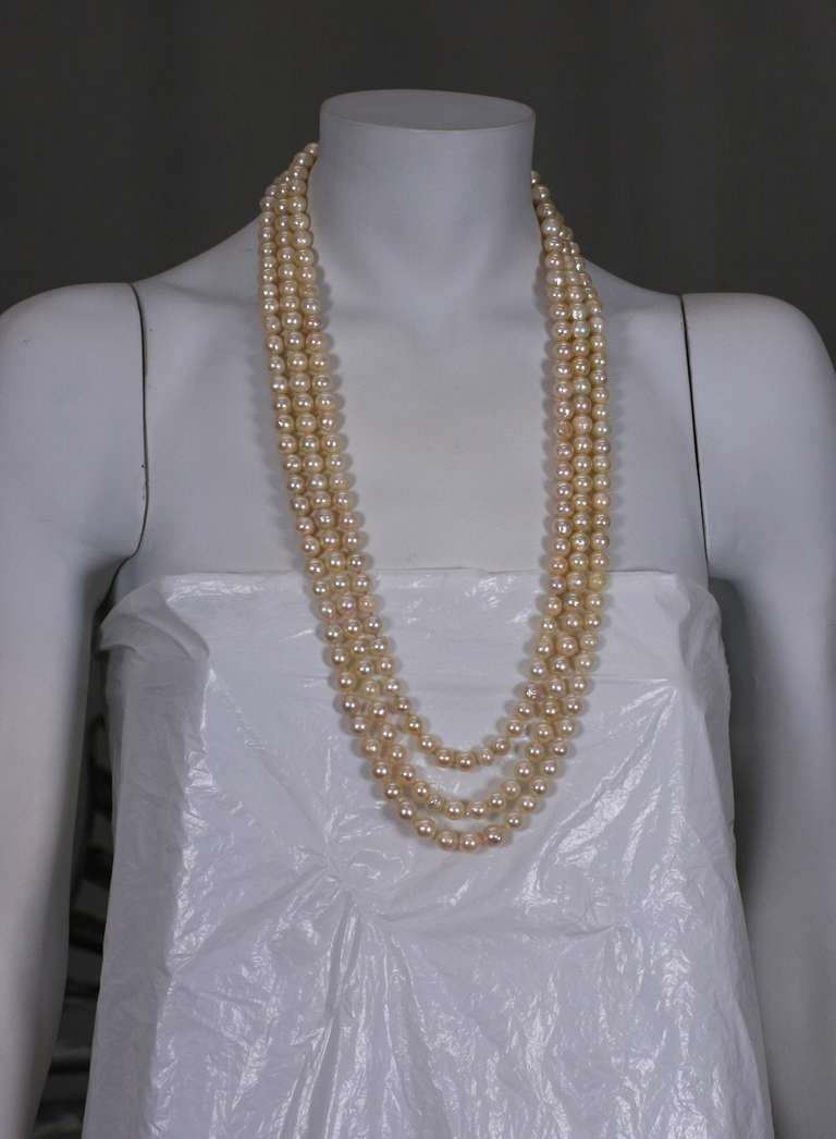 Triple Strand Cultured Pearl Necklaces For Sale 1