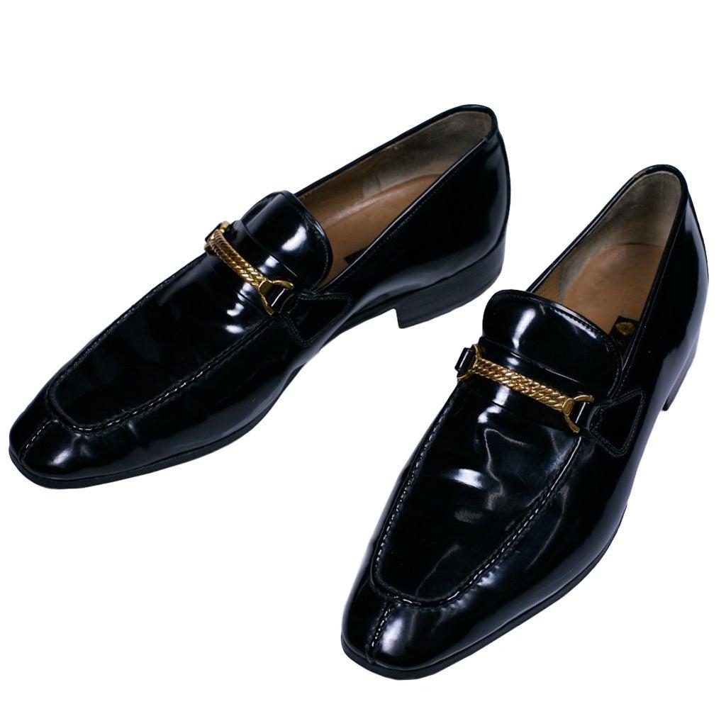 Elegant Gucci Mens Patent Loafers
