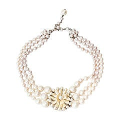 Miriam Haskell Signature Freshwater Pearl Flower Necklace