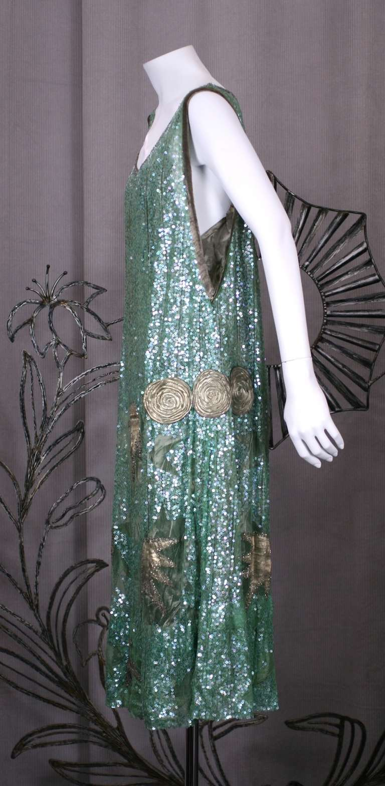 1920's French Seafoam Sequin and Lame Dress. 2