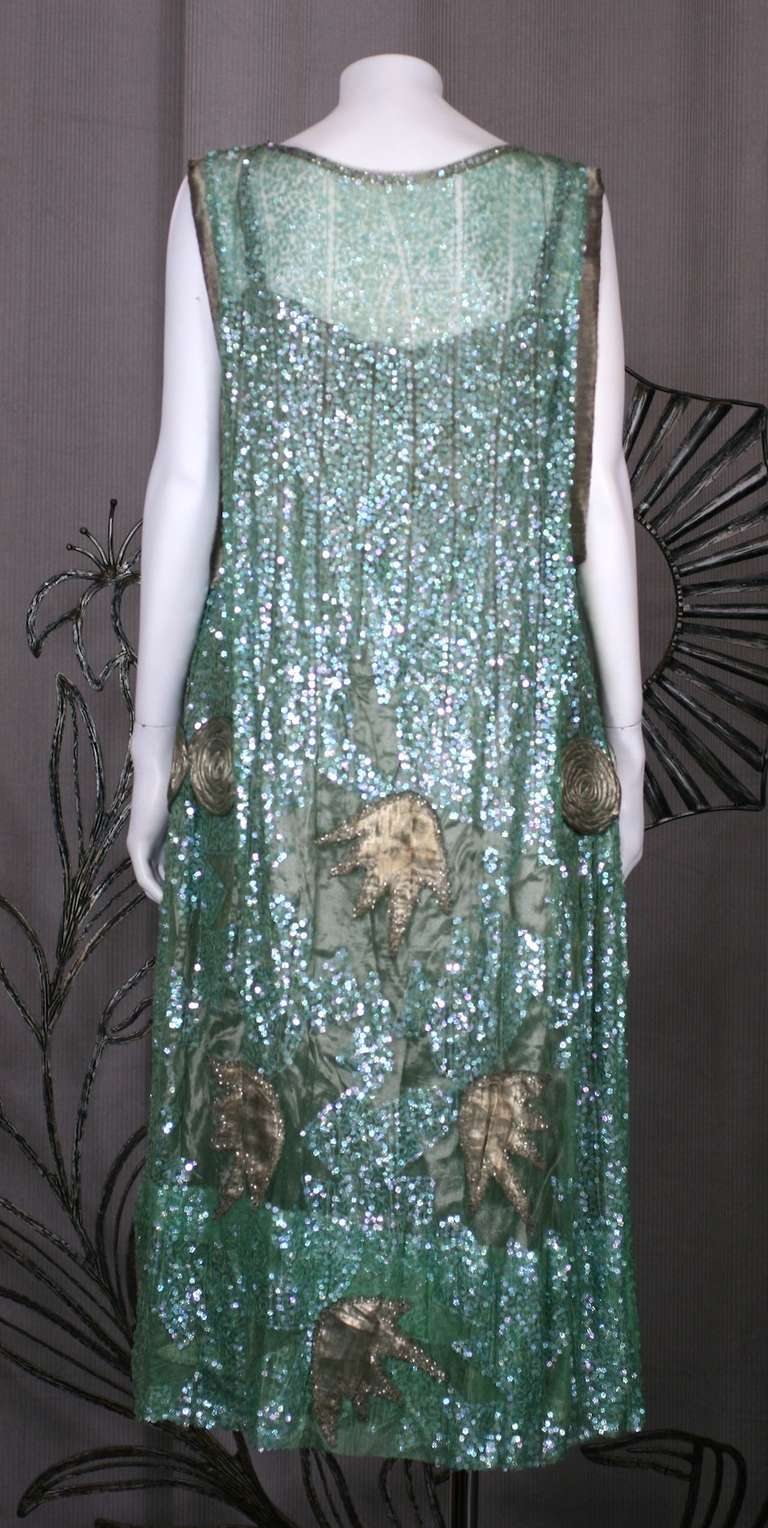 1920's French Seafoam Sequin and Lame Dress. 3