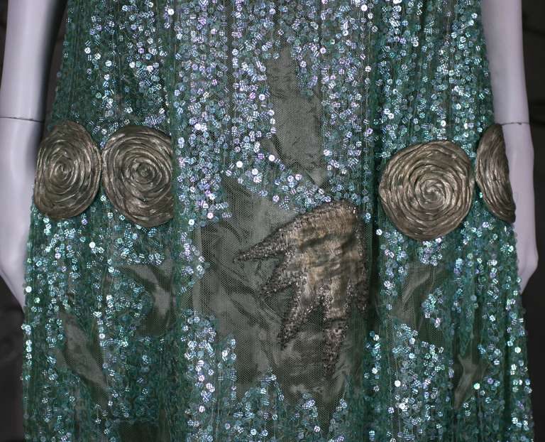 1920's French Seafoam Sequin and Lame Dress. 4