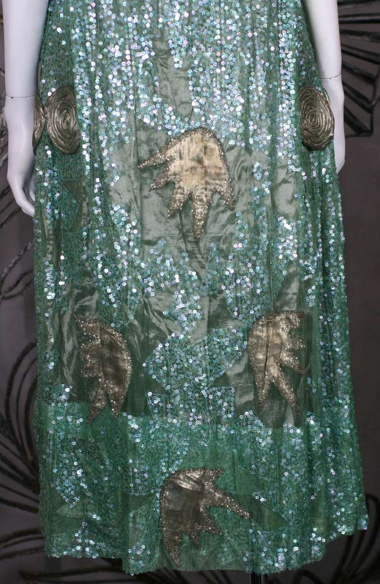 1920's French Seafoam Sequin and Lame Dress. 5
