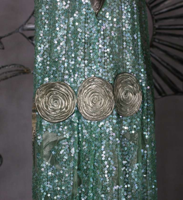 1920's French Seafoam Sequin and Lame Dress. 6