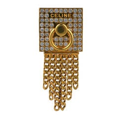 Celine Pave Door Knocker Logo Brooch