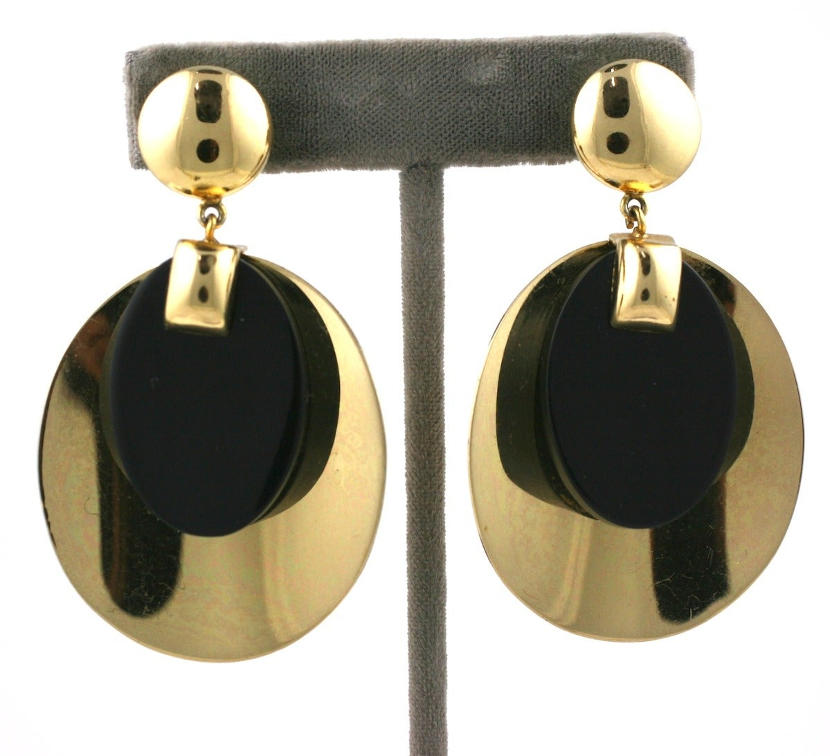 Christian Dior Gold Disc and Bakelite Mod Earrings 2