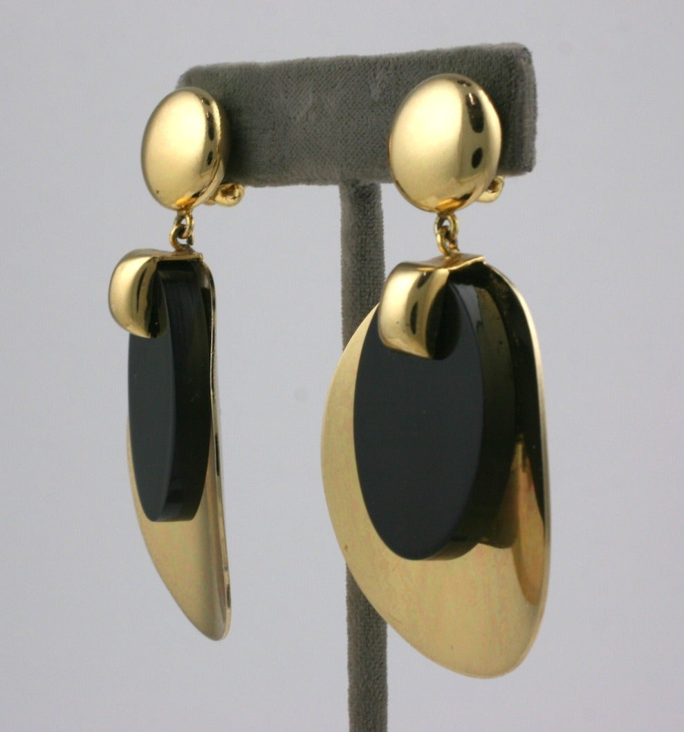 Christian Dior Gold Disc and Bakelite Mod Earrings 3