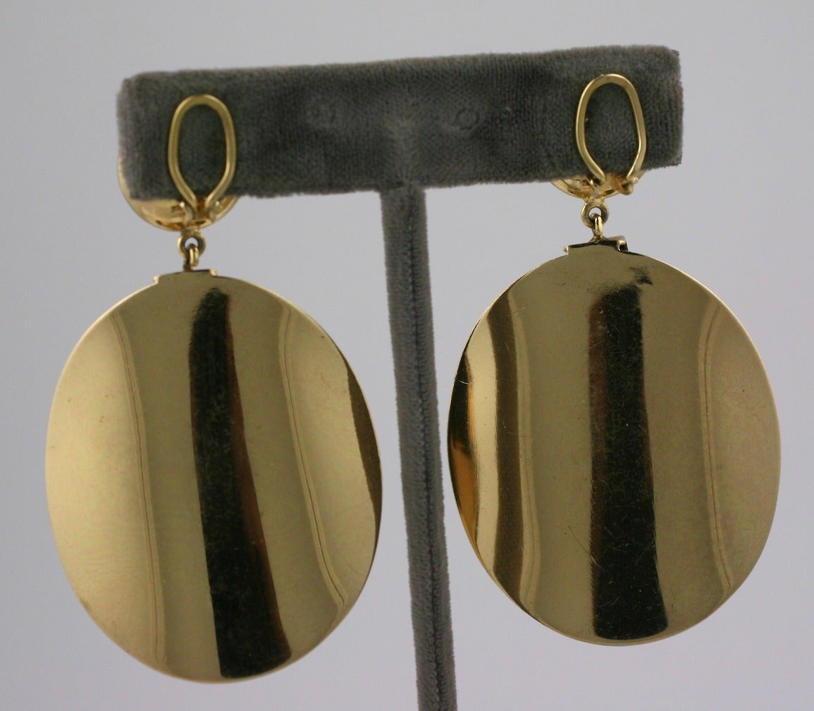 Christian Dior Gold Disc and Bakelite Mod Earrings 4