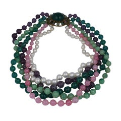 Maison Gripoix for Chanel Moughal  Multi Strand Necklace