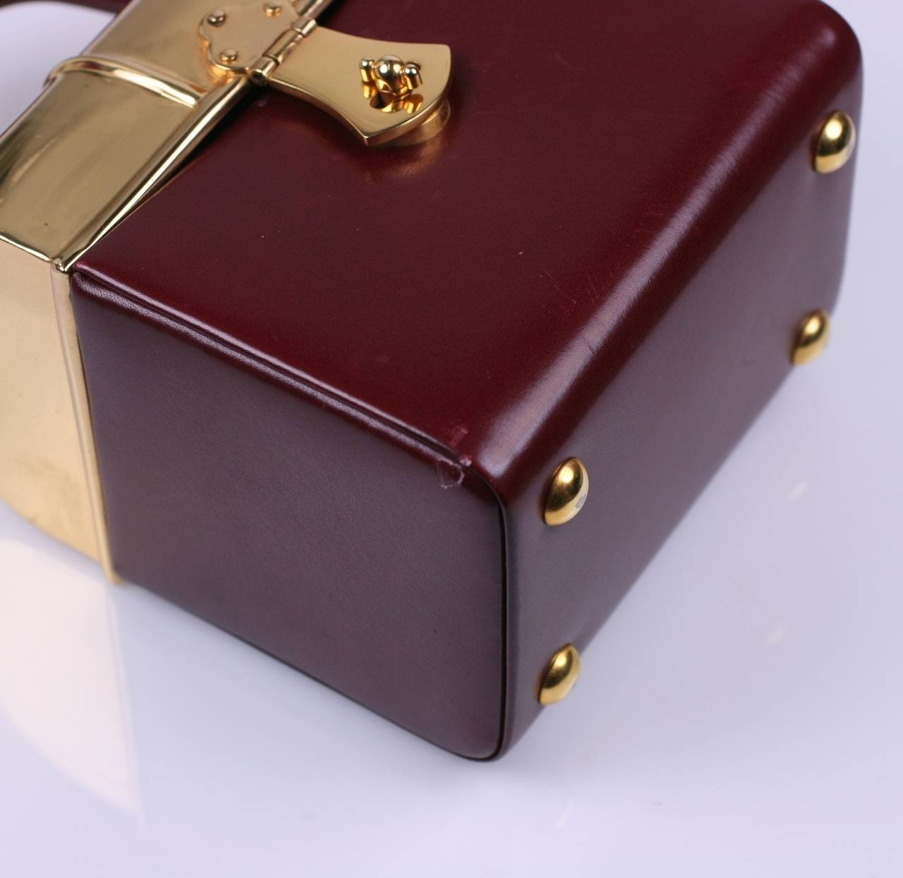 Sacha Miniature Burgundy Box Bag In Excellent Condition For Riverdale Ny