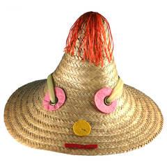Charming Figural Italian Straw Hat