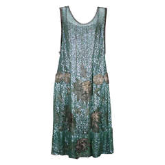 1920's French Seafoam Sequin and Lame Dress.