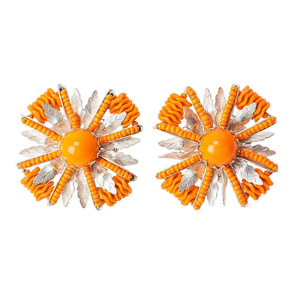 Miriam Haskell Orange Lucite and Silver Gilt Earrings 1