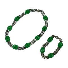 Gripoix Art Deco Emerald Pate de Verre Suite