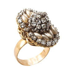 Miriam Haskell Faux Pearl and Diamonte Ring