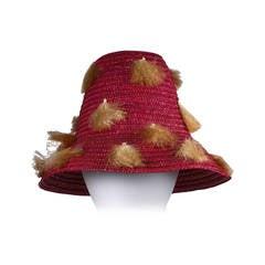 Italian Fuschia Straw and Raffia Beach Hat