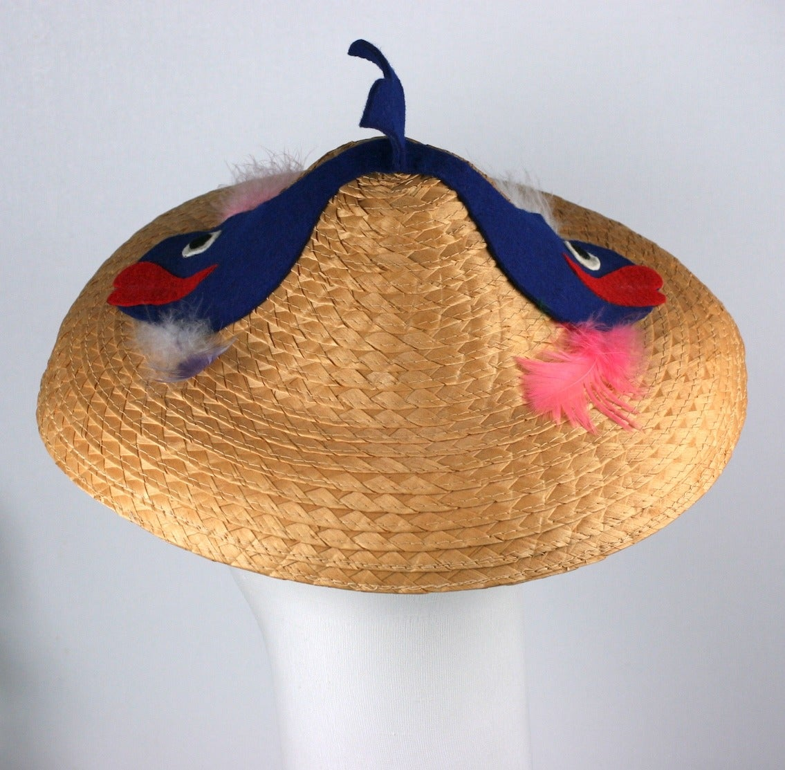 Brown Italian Straw Fish Beach Hat For Sale