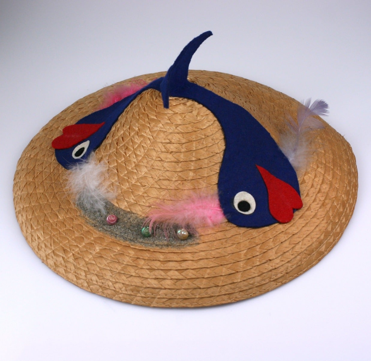 Italian Straw Fish Beach Hat In Excellent Condition For Sale In Riverdale, NY