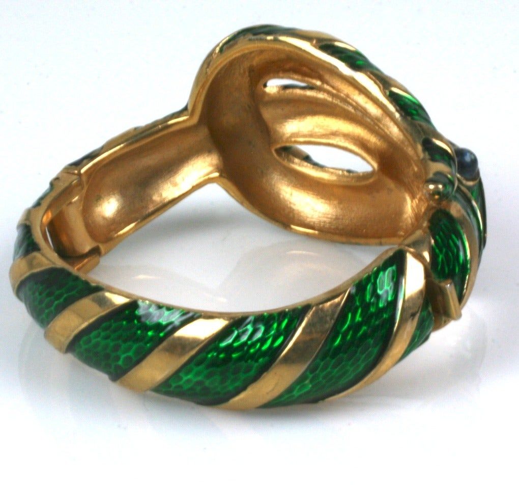 Trifari Enamel Snake Bangle In Excellent Condition For Sale In Riverdale, NY