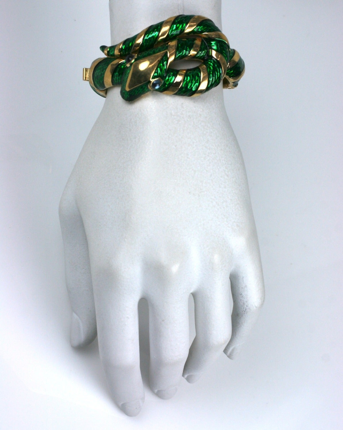 Trifari Enamel Snake Bangle For Sale 1