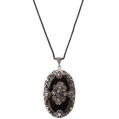 Art Deco Jet and Marcasite Pendant