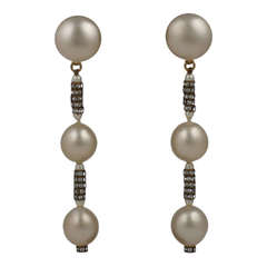 Elegant Chanel Pearl and Pave Rondel Earrings