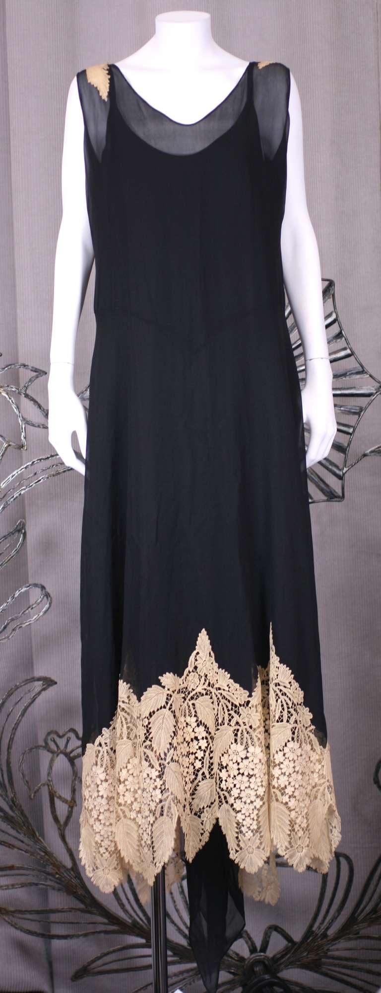 Amazing Art Deco Chiffon Gown with Hydrangea Lace 7
