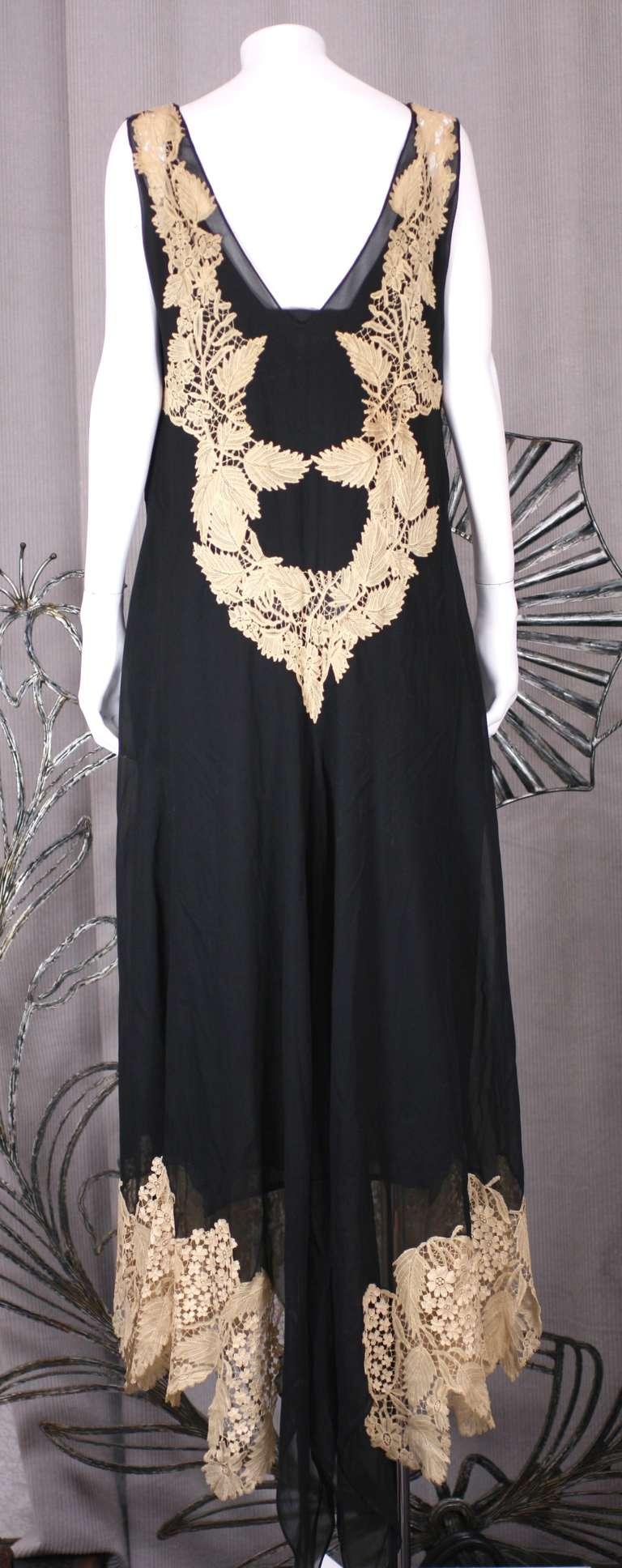Amazing Art Deco Chiffon Gown with Hydrangea Lace 9