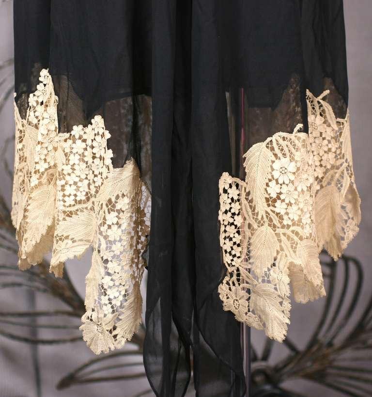 Amazing Art Deco Chiffon Gown with Hydrangea Lace 10