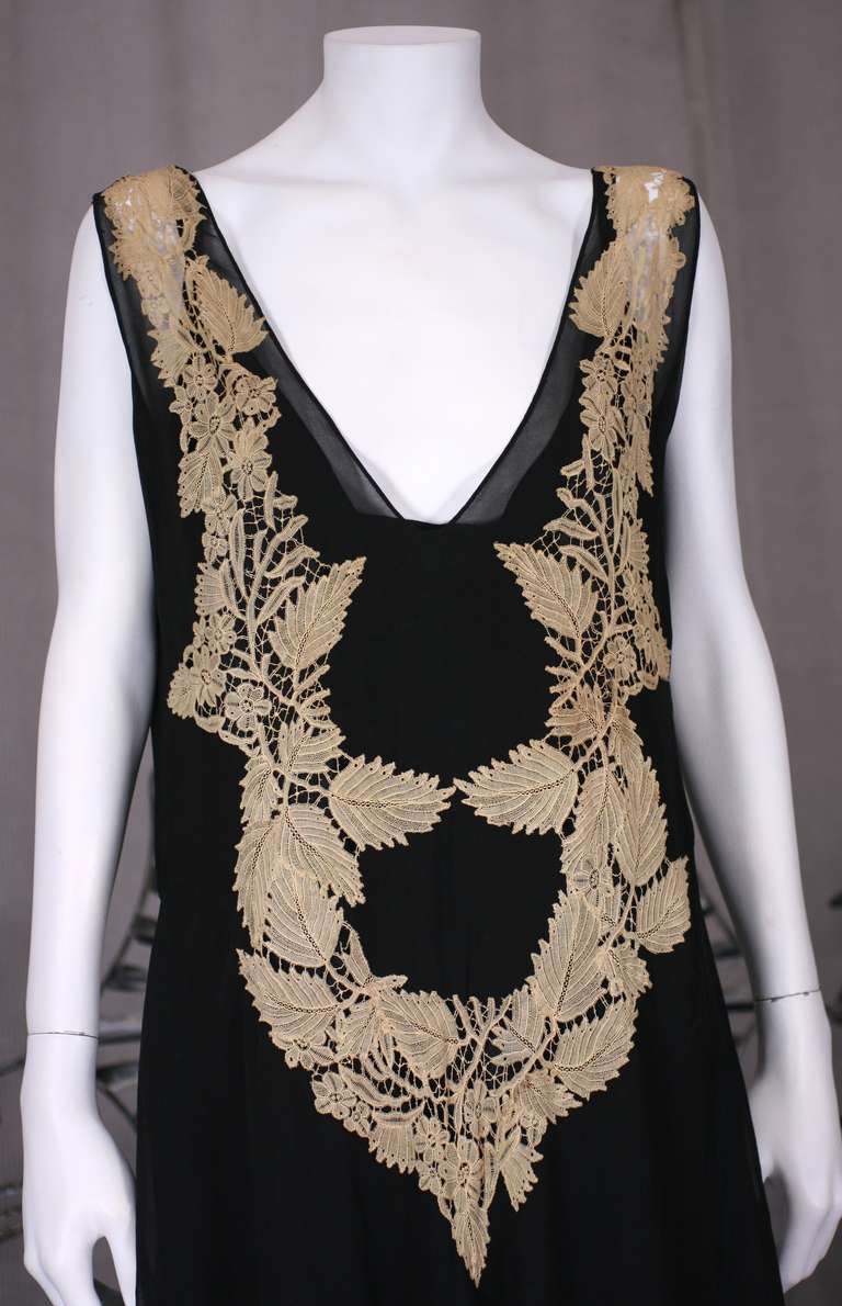 Amazing Art Deco Chiffon Gown with Hydrangea Lace 2