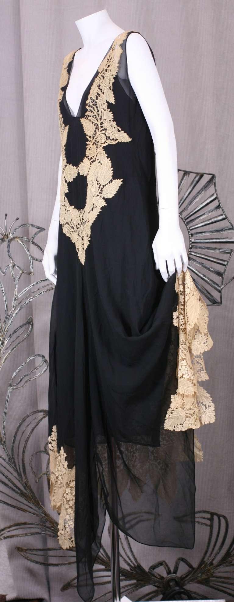 Amazing Art Deco Chiffon Gown with Hydrangea Lace 3