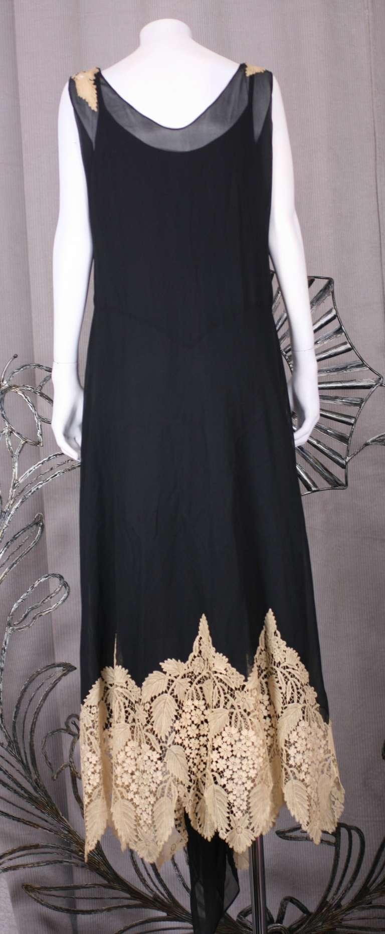 Amazing Art Deco Chiffon Gown with Hydrangea Lace 4