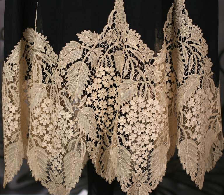 Amazing Art Deco Chiffon Gown with Hydrangea Lace 5