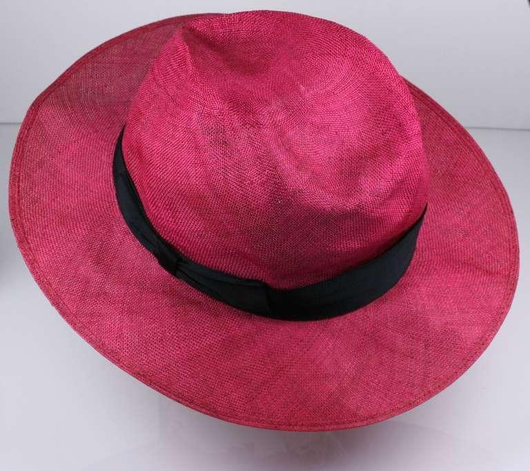 Fuschia Straw Panama Hat, Italy 2