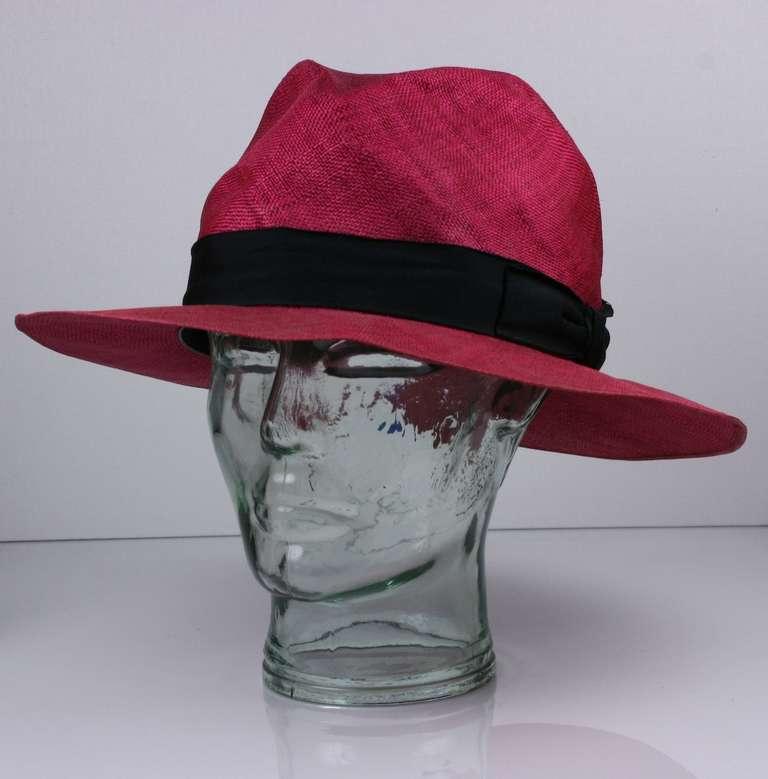 Fuschia Straw Panama Hat, Italy 3