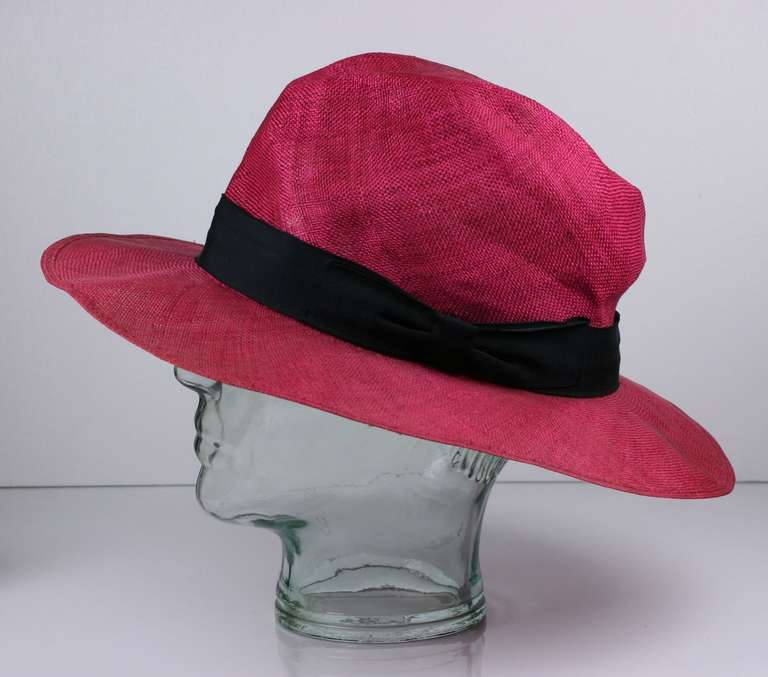 Fuschia Straw Panama Hat, Italy 4